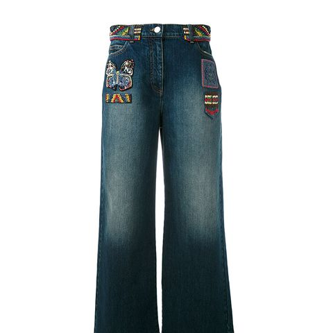 Bead Patch Wide Leg Jeans
