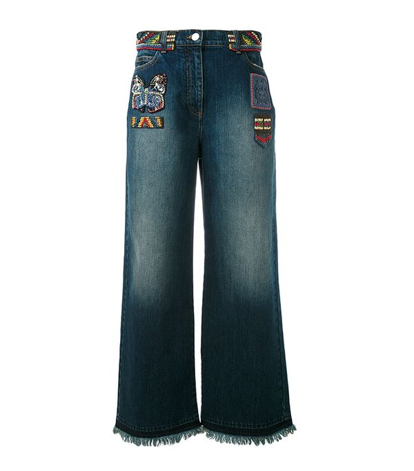 Valentino Bead Patch Wide Leg Jeans