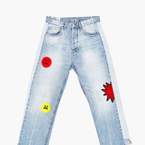 Jeans with Cartoon Design and Side Stripes