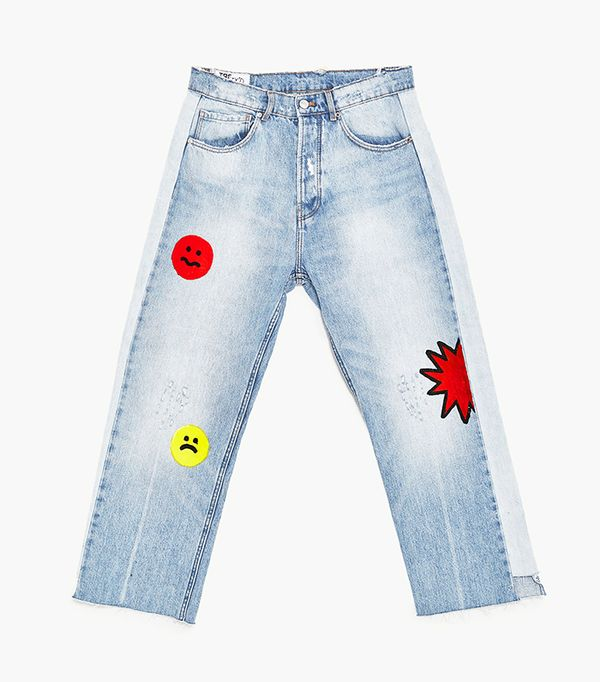 Zara Jeans with Cartoon Design and Side Stripes
