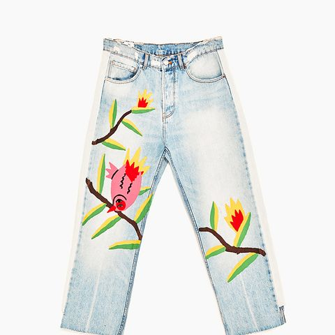 Jeans With Floral Design and Stripes Down the Sides