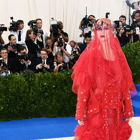 Met Gala 2017 red carpet: Katy Perry red veil dress
