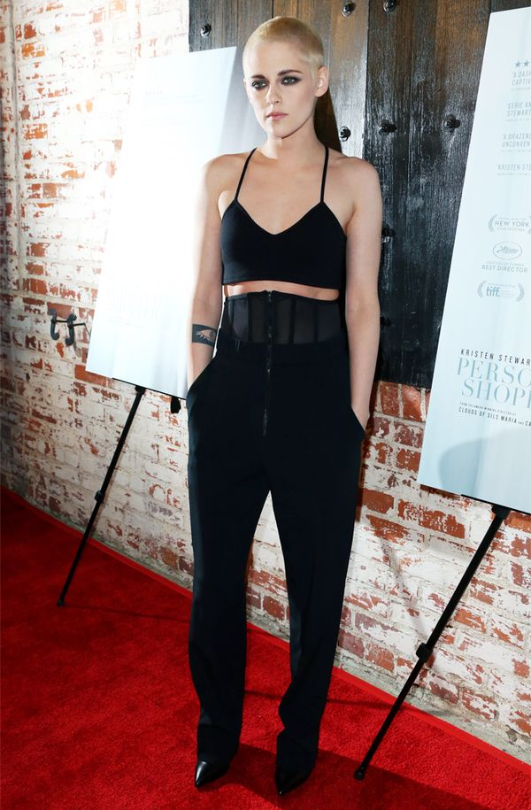 Kristen Stewart style: Black crop top and trousers