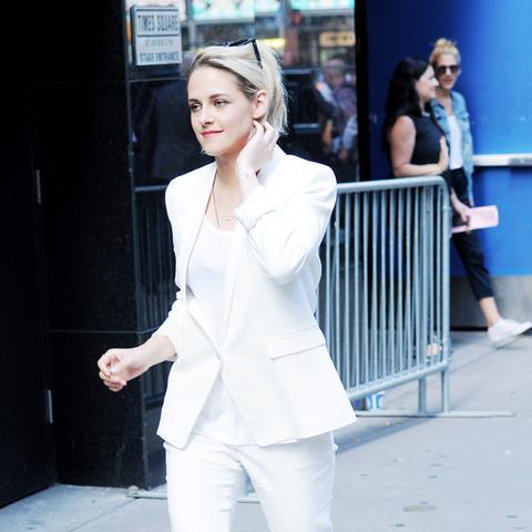 Kristen Stewart style: white suits