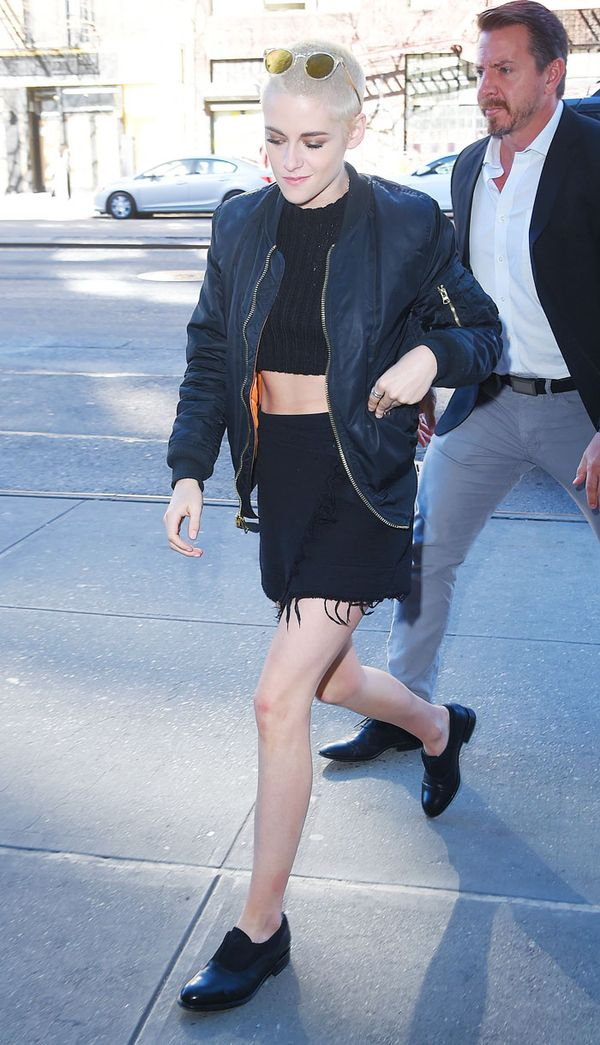 Kristen Stewart style: In a  black bomber, black skirt and black top