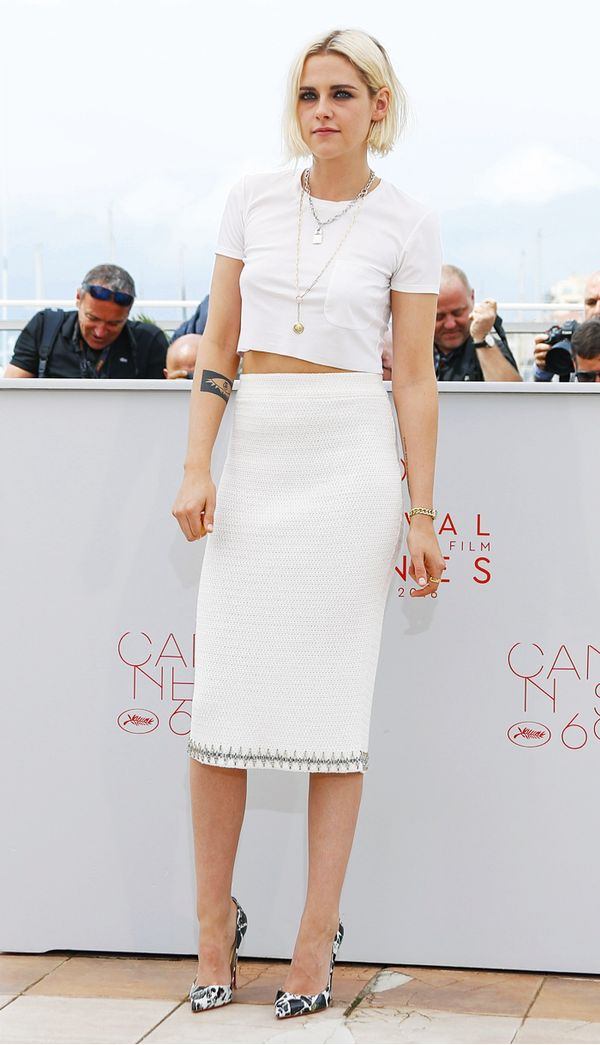 Kristen Stewart style: Chanel crop top and pencil skirt