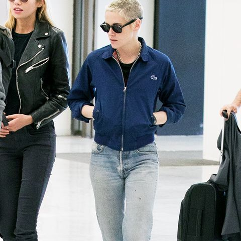 Kristen Stewart style: Lacoste Harrington, straight-leg jeans, and flats