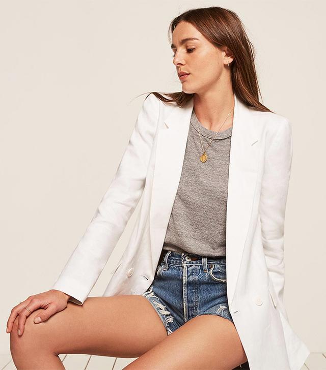 best white blazer- reformation valero jacket
