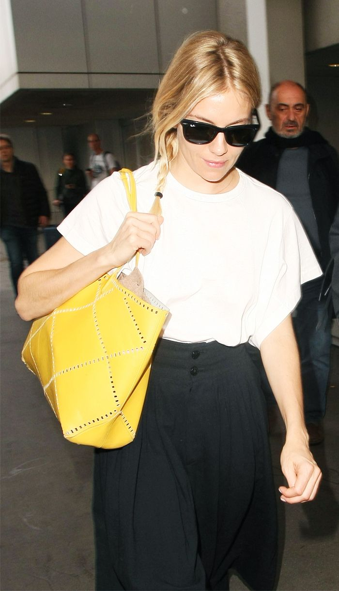 Best Travel Bags: Sienna Miller With Roger Vivier Yellow Bag