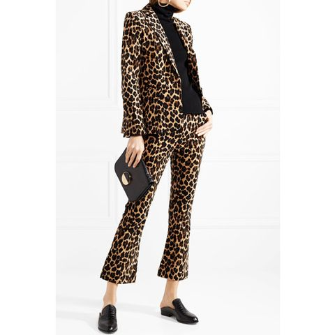 Cropped Leopard-Print Flared Pants