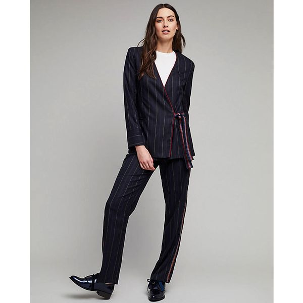11 Co-Ord Outfits That Take the Hassle Out of Looking Awesome, Anthropologie Malden Striped Wrap Blazer