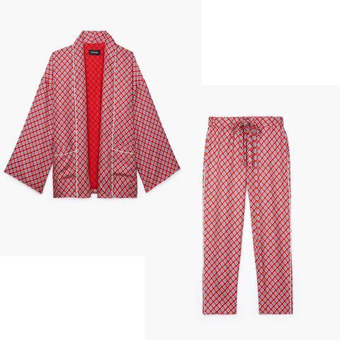 Printed Red Silk Jacket