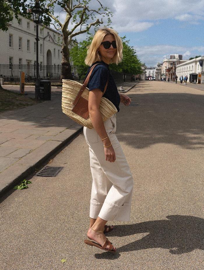 Best Basket Bags: Emma Hill carries a Loewe basket bag