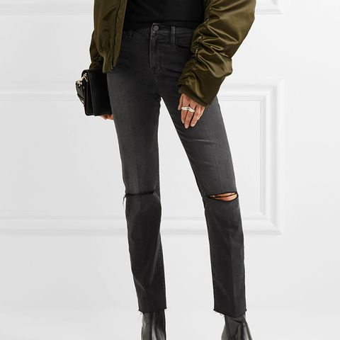 Le High Distressed Mid-Rise Straight-Leg Jeans