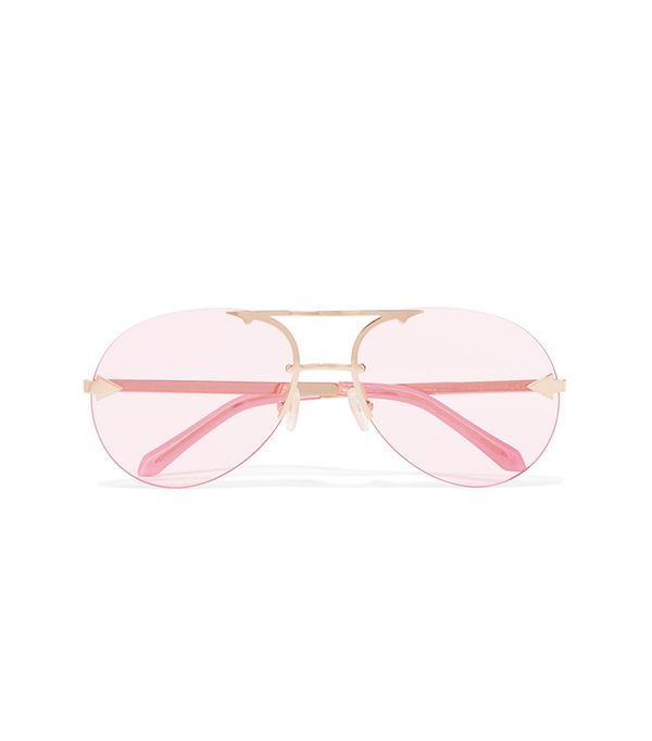 Karen Walker Love Aviator-Style Gold-Tone Sunglasses