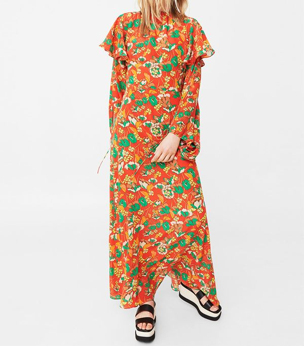 Mango 100% Silk Flower Dress