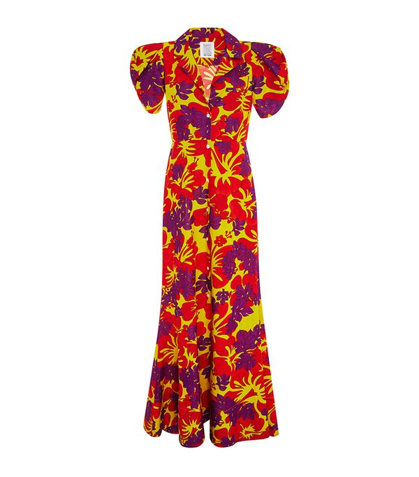 Rosie Assoulin Puff Sleeved Floral Gown