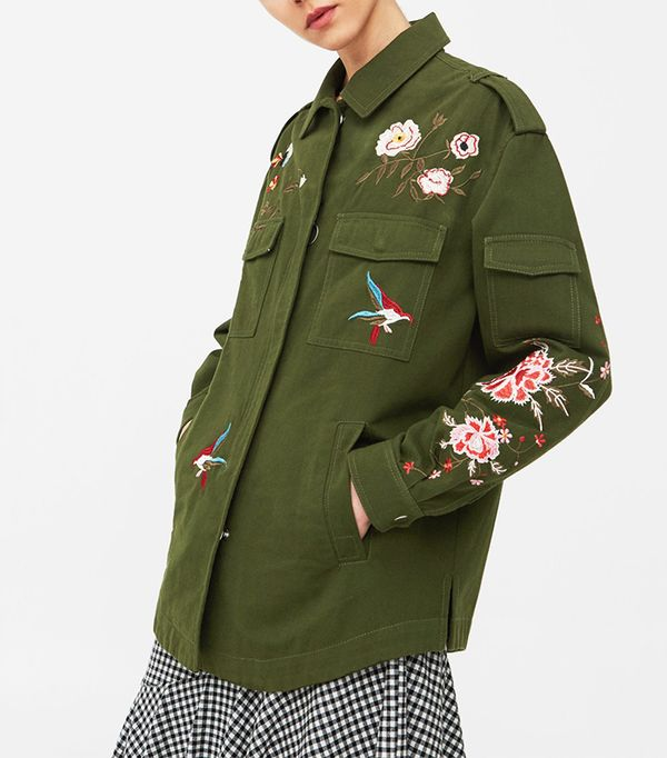 Mango Floral Embroidered Jacket