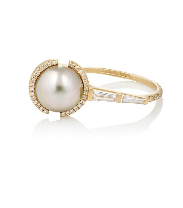 Monique Péan White Diamonds and Tahitian Pearl Ring