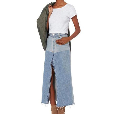 Seamed Denim Midi Skirt