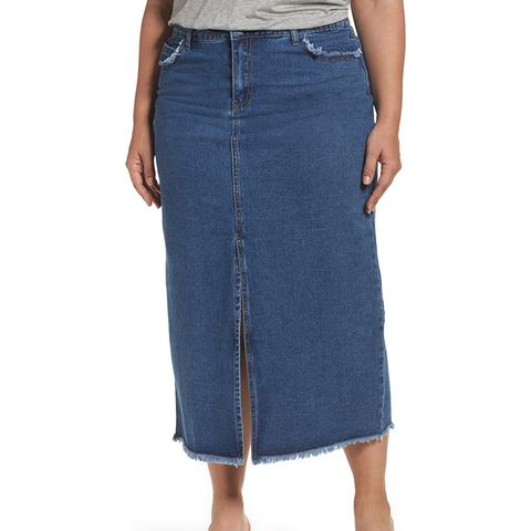 Denim Maxi Skirt Plus SIze