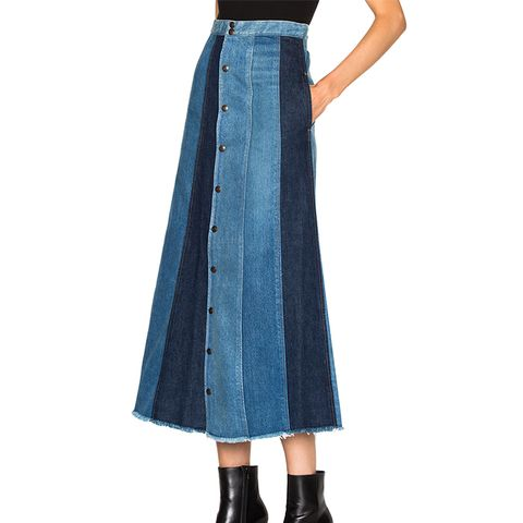 Long Patch Denim Skirt