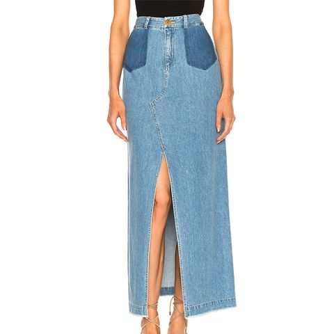 Maxi Slit Denim Skirt
