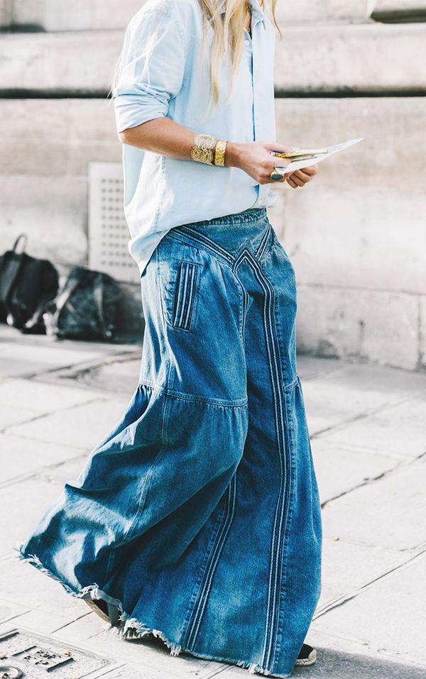 denim maxi skirt trend