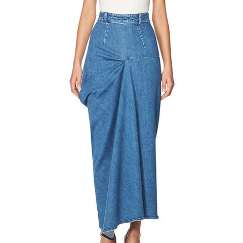 High-Waist Draped Denim Maxi Skirt