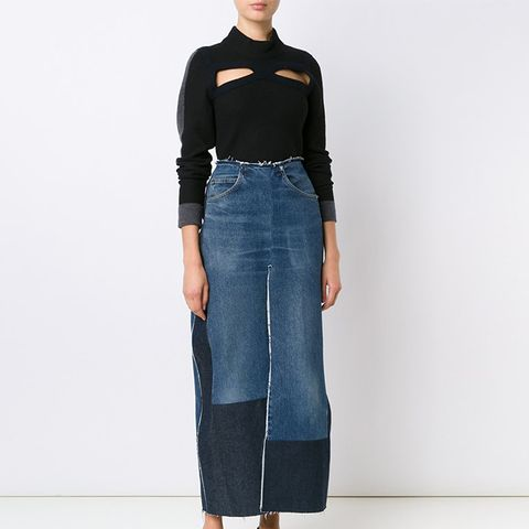 Long Denim Split Skirt