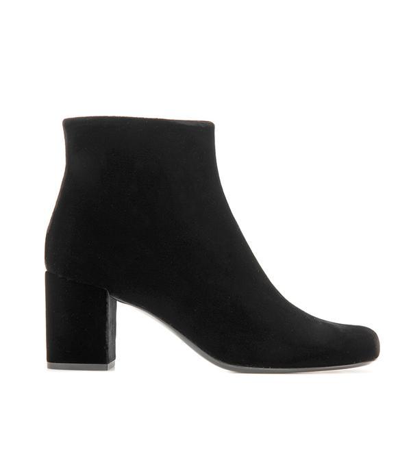 2 in 1 dress trend - Saint Laurent Babies Velvet Ankle Boots