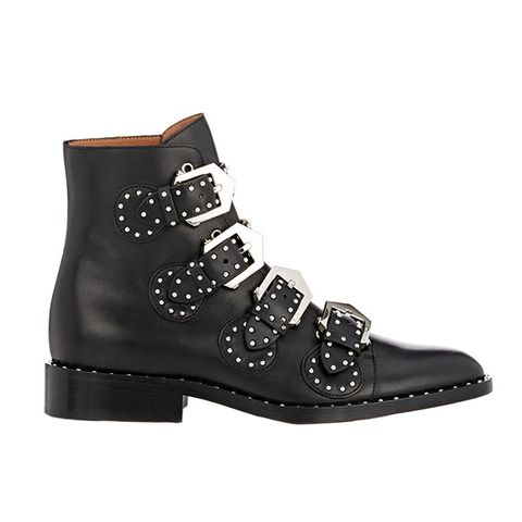 Studded Buckle-Strap Ankle Boots