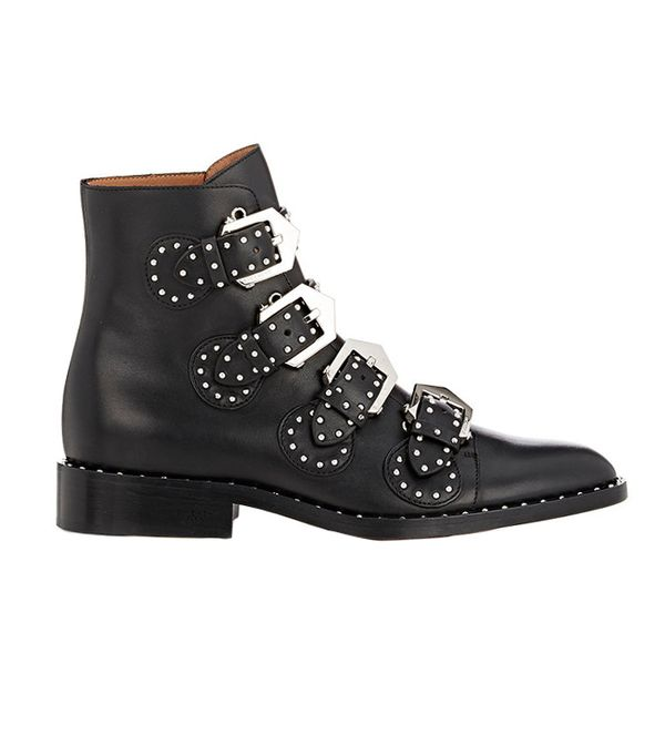 san francisco style - Givenchy Studded Buckle-Strap Ankle Boots