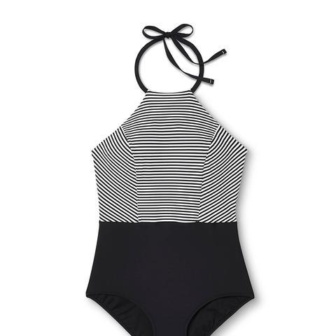 Plus Size Stripe High Neck One Piece Swimsuit Black