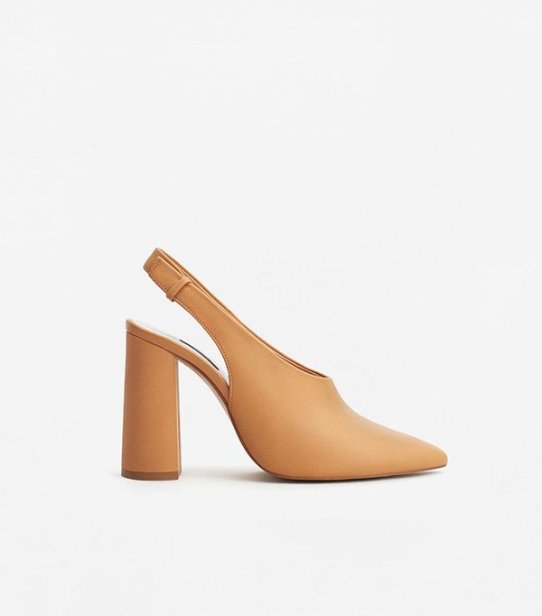 Mango Slingback Leather Shoes