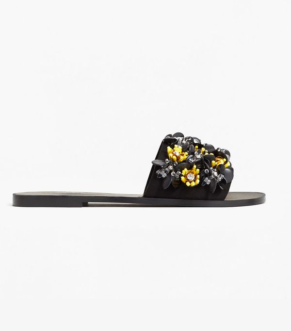 Mango Flower Appliqué Sandals
