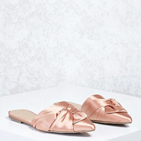 Knotted Bow Satin Flats