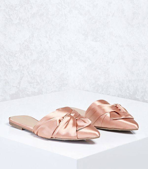 Forever 21 Knotted Bow Satin Flats
