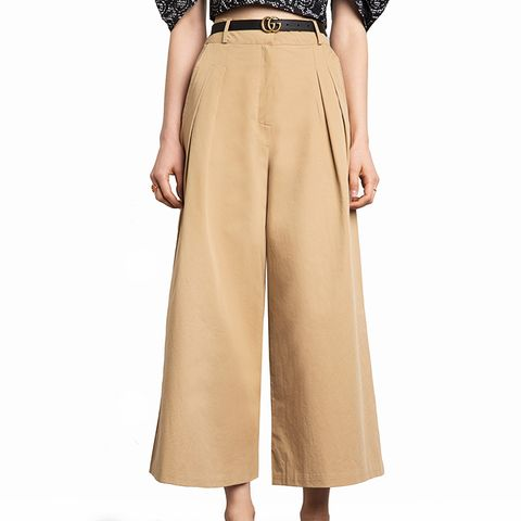 Tan Wide Leg Cotton Pants