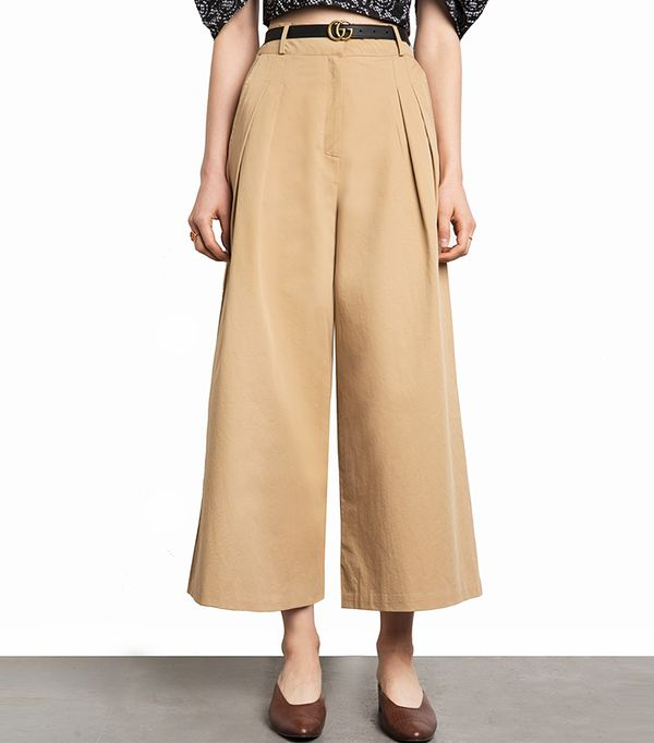 Pixie Market Tan Wide Leg Cotton Pants