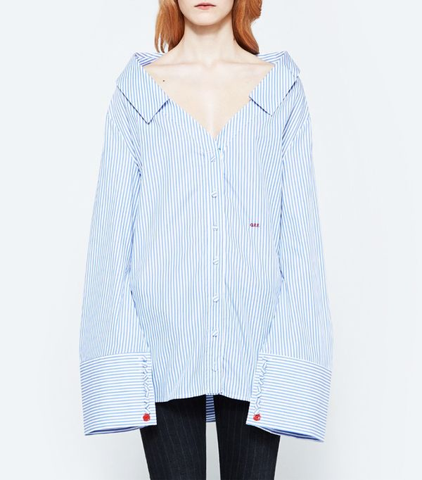 Off-White Striped Off the Shoulder Shirt