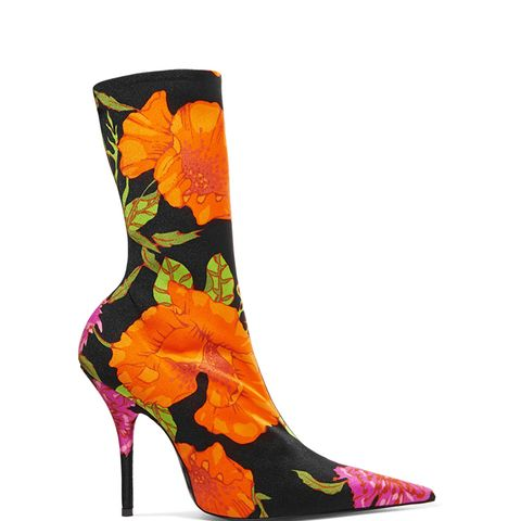 Floral-Print Spandex Ankle Boots