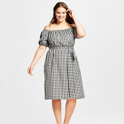 Plus Size Embroidered Belted Bardot Dress