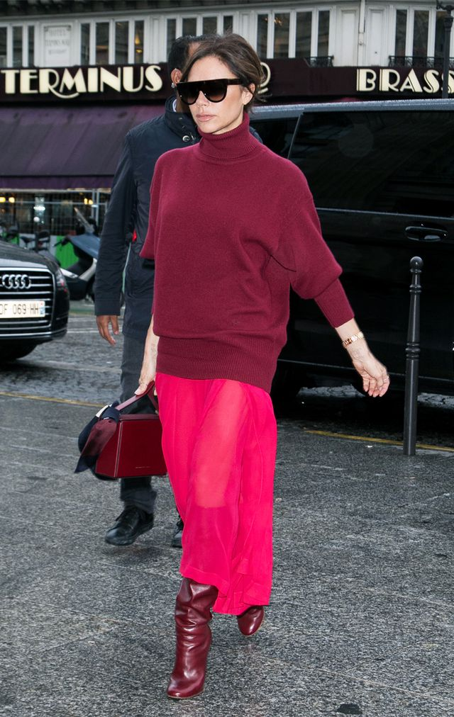 Victoria Beckham wearing head to toe red