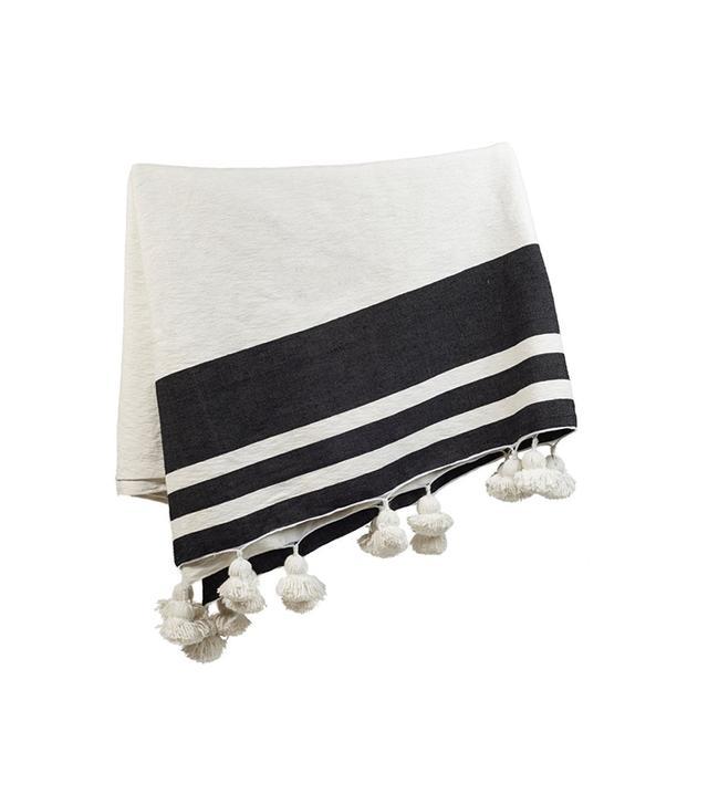 Consort Moroccan White and Black Stripe Pom Pom Throw