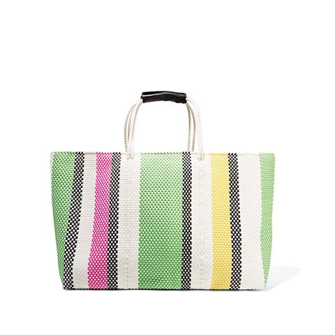 Stripe Extra Large Woven Raffia-Effect Tote