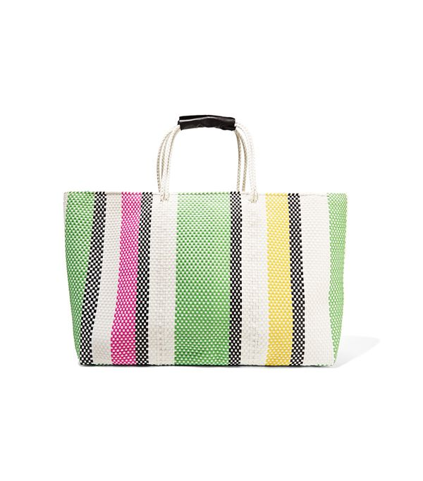 Summer Trend Forecasting: Truss Stripe Extra Large Woven Raffia-Effect Tote