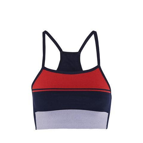 Block Striped Stretch-Knit Sports Bra