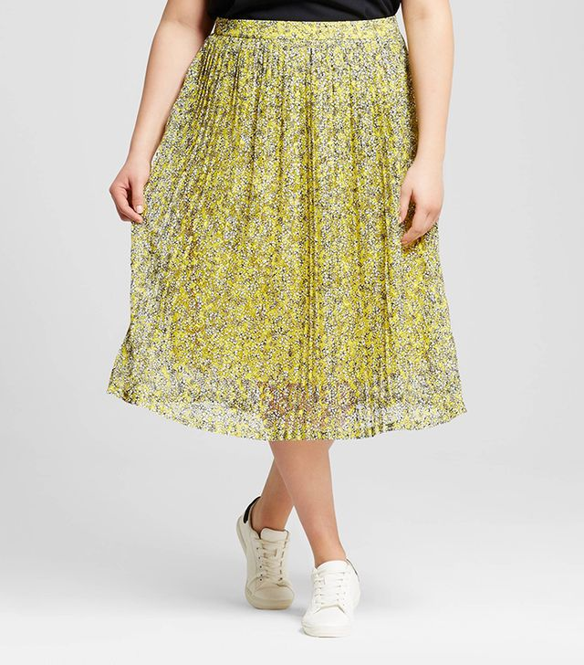 Who What Wear Pleated Lace Skirt
