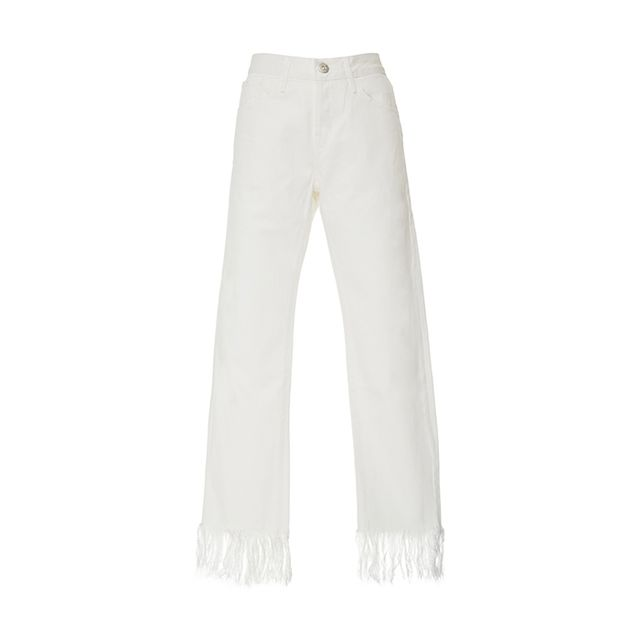 Mid Rise Fringed Jeans